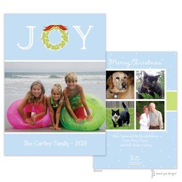 Joy Wreath Light Blue Flat Holiday Photo Card