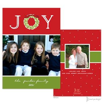 Joy Wreath Red Flat Holiday Photo Card