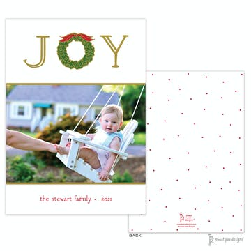 Joy Wreath White Flat Holiday Photo Card