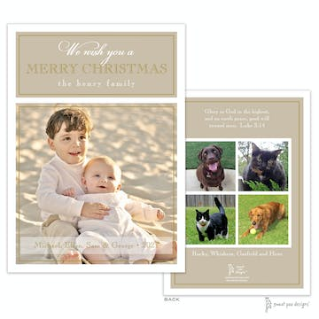 Simple Border Gold On Gold Flat Holiday Photo Card