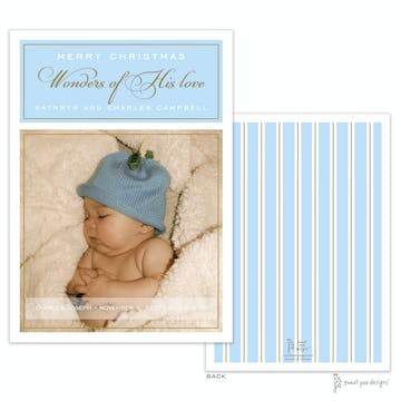 Simple Border Gold On Blue Flat Holiday Photo Card