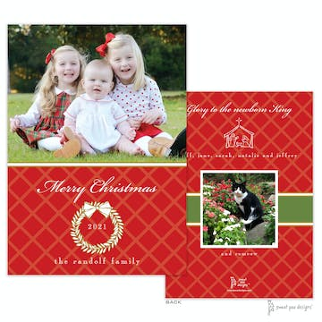 White Laurel Wreath Red And Gold Flat Holiday Photo Card