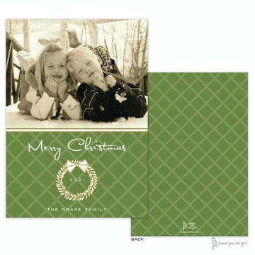 White Laurel Wreath Green And Gold Flat Holiday Photo Card