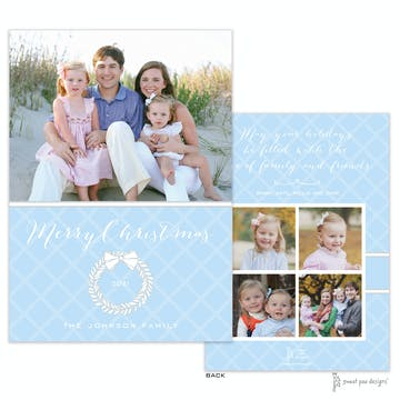 White Laurel Wreath Light Blue & Silver Flat Holiday Photo Card