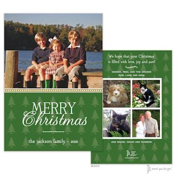 Beaded Border Green Trees Flat Holiday Photo Card