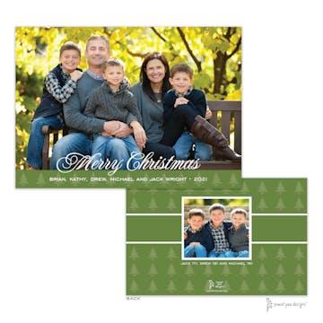 Trees Band Green Flat Holiday Photo Card