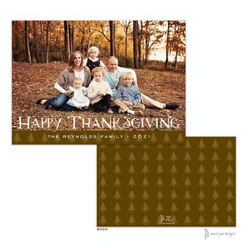 Trees Band Chocolate Flat Holiday Photo Card