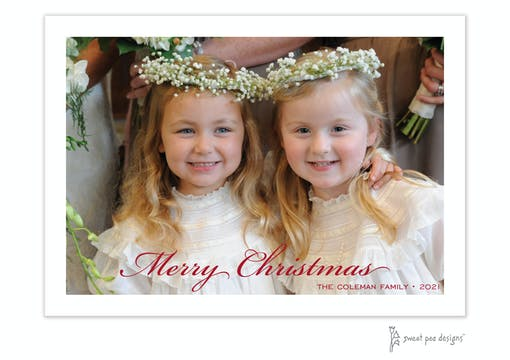 Fine Script Merry Christmas Flat Holiday Photo Card