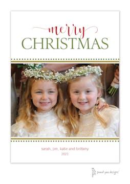 Festive Merry Christmas White Flat Holiday Photo Card