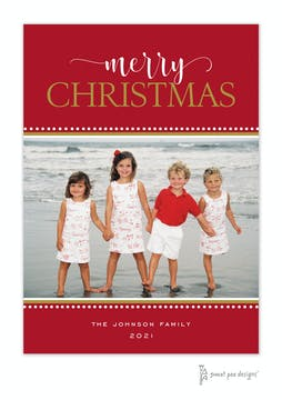 Festive Merry Christmas Red Flat Holiday Photo Card
