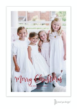 Modern Script Merry Christmas Flat Holiday Photo Card