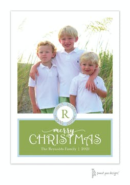 Merry Christmas Wreath Green Flat Holiday Photo Card