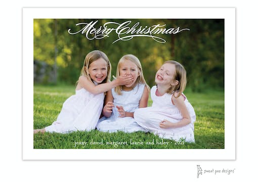 Fancy Script Merry Christmas Flat Holiday Photo Card