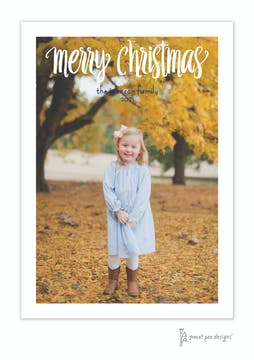 Fun Script Merry Christmas Flat Holiday Photo Card