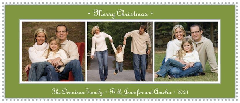 Antique Bead Border Green Christmas Flat Photo Card