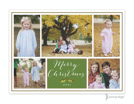 Green Flat Photo Collage With Gold Border Flat Photo Holiday Card