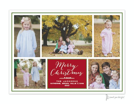 Red Flat Photo Collage With Green Border Flat Photo Holiday Card
