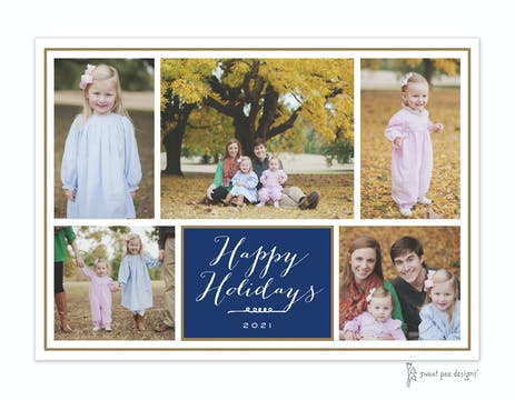 Dark Blue Flat Photo Collage With Gold Border Flat Photo Holiday Card