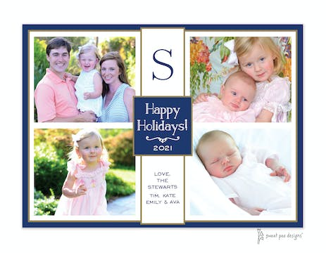 Flat Photo Collage Navy And Gold Flat Photo Holiday Card