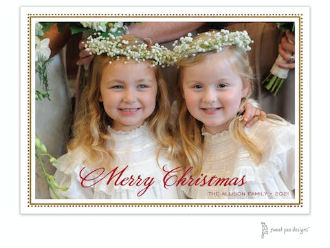 Foil Antique Beaded Border (horizontal) Holiday Photo Card