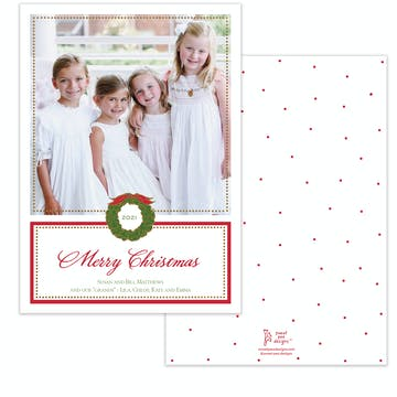 Foil Wreath Red Holiday Photo Card