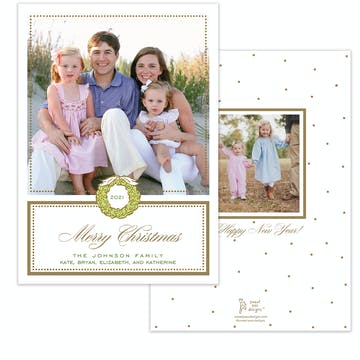 Foil Wreath Gold Holiday Photo Card