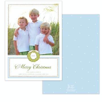 Foil Wreath Blue Holiday Photo Card