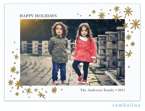 Bright Holiday Stars White Foil Pressed Holiday Photo Card