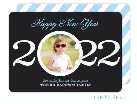 New Year Circle Holiday Flat Photo Card