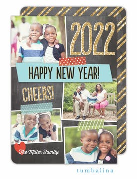 Dazzling New Year Holiday Flat Photo Card