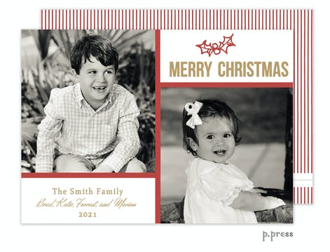 Red Frame Holiday Flat Photo Card