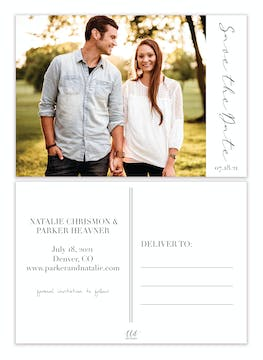 Side Photo Save the Date Postcard