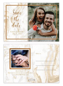 Marbled Save the Date Photo Postcard