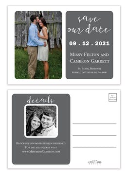 Grey Simplicity Photo Save The Date Postcard