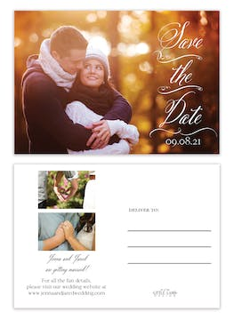 Scrolled Save the Date Photo Postcard