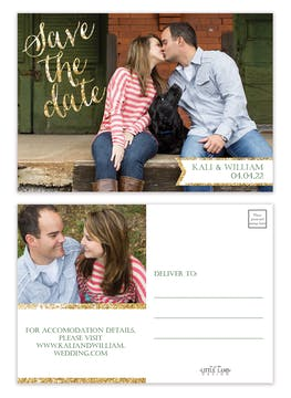 Glitter Calligraphy Photo Save The Date Postcard