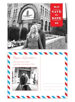 Blue & Red Postcard Save The Date Digital Photo Invitation
