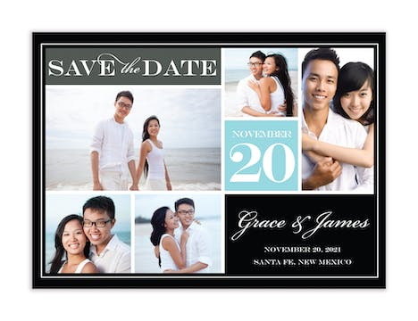 Block Blue Photo Save The Date Magnet