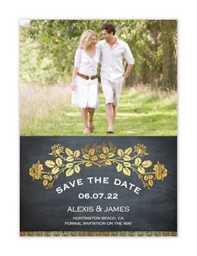 Gold Laurel Chalkboard Photo Save The Date Magnet
