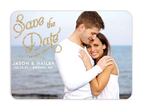 Elegant Glitter Photo Save The Date Magnet