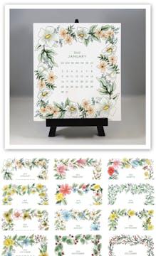 Watercolor Floral 2022 Desk Calendar & Easel
