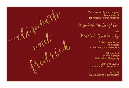 Burgundy faux glitter names Invitation