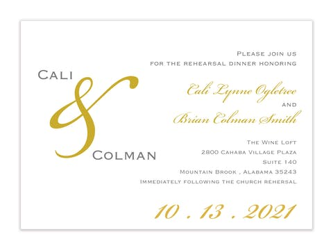 Traditional Gold & Gray Invitation