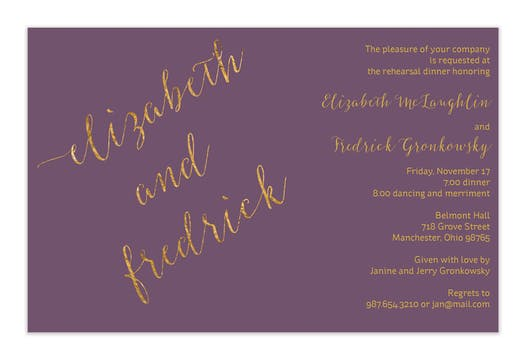 Thistle faux glitter names Invitation