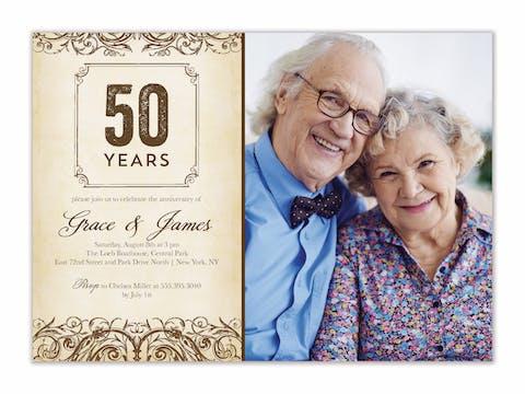 Anniversary Vintage Scrolls Beige Photo Invitation