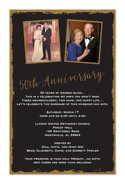 Foil Framed 50th Anniversary Invitation