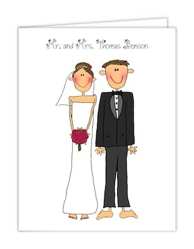 Personalized Character Bride and Groom Folded Note