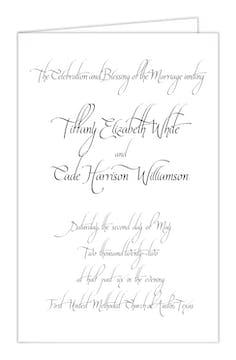 Calligraphy White Wedding Folded Program