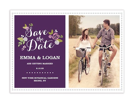 Floral Aubergine Photo Save The Date Magnet