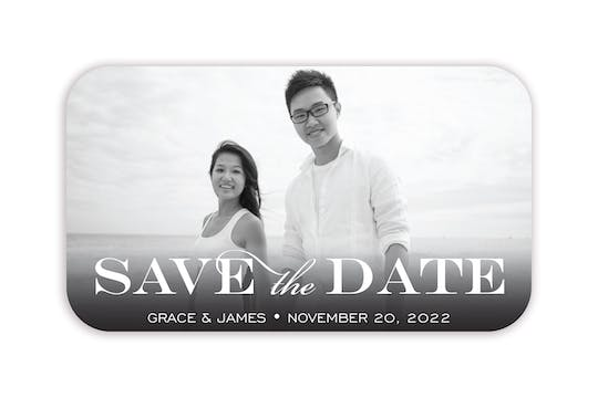 Block Green Photo Save The Date Magnet